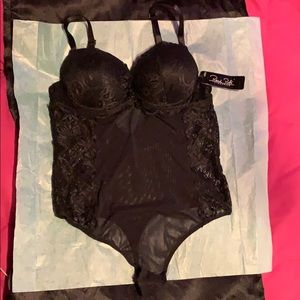 Sold!! Rene Rofe Lingerie, black lace thong teddy